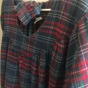 Cotton flannel v-neck long night gown
